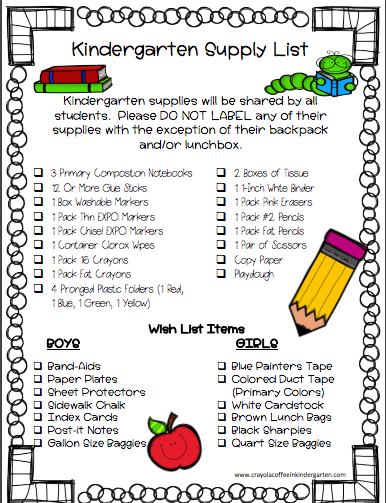 Kindergarten Supply List 2018-2019