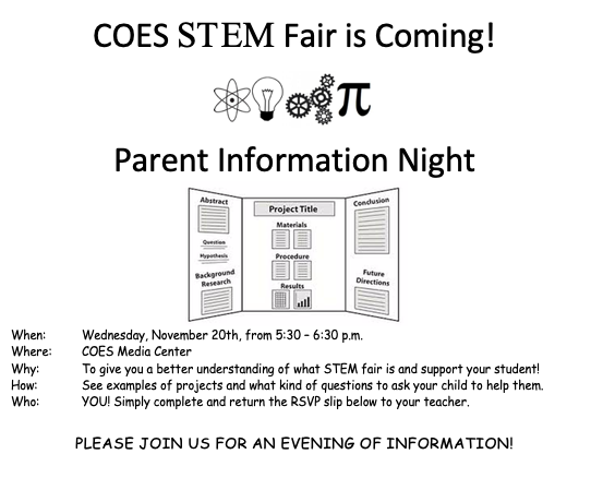 STEM fair info night. Wednesday, November 20th, from 5:30 – 6:30 p.m