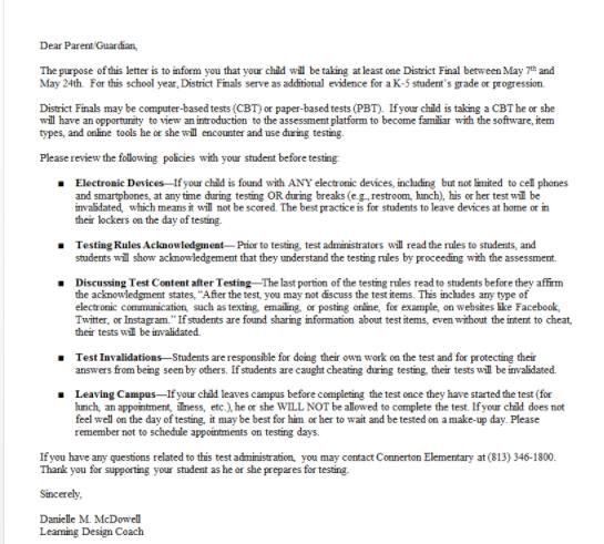 Important Parent D.F. Letter.