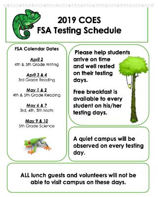 FSA Testing Schedule