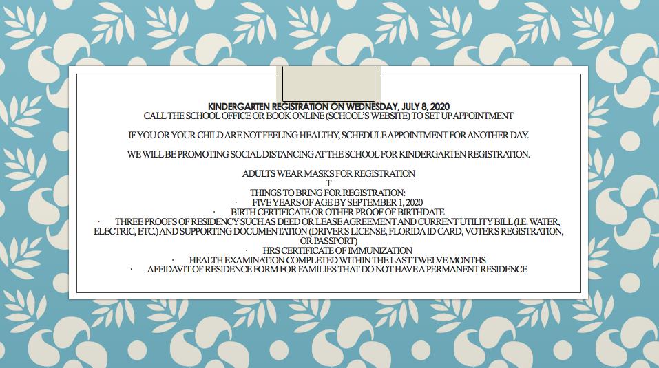 Kindergarten Registration Information!
