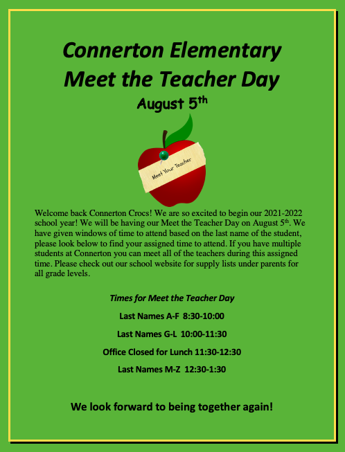 Click Here for Meet the Teacher Day August 5th